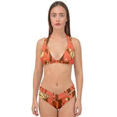 Amber Yellow Stripes Leaves Floral Double Strap Halter Bikini Set