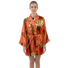 Amber Yellow Stripes Leaves Floral Long Sleeve Kimono Robe