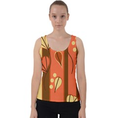 Amber Yellow Stripes Leaves Floral Velvet Tank Top