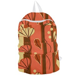 Amber Yellow Stripes Leaves Floral Foldable Lightweight Backpack