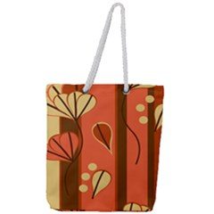 Amber Yellow Stripes Leaves Floral Full Print Rope Handle Tote (large)