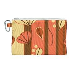 Amber Yellow Stripes Leaves Floral Canvas Cosmetic Bag (large)