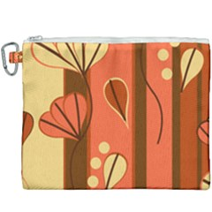 Amber Yellow Stripes Leaves Floral Canvas Cosmetic Bag (xxxl)