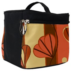 Amber Yellow Stripes Leaves Floral Make Up Travel Bag (big)