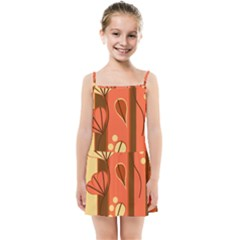 Amber Yellow Stripes Leaves Floral Kids  Summer Sun Dress by Mariart