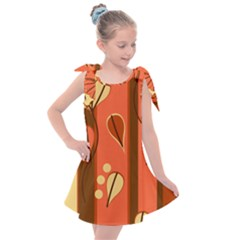 Amber Yellow Stripes Leaves Floral Kids  Tie Up Tunic Dress