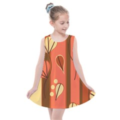 Amber Yellow Stripes Leaves Floral Kids  Summer Dress by Mariart