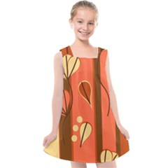 Amber Yellow Stripes Leaves Floral Kids  Cross Back Dress by Mariart