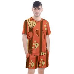 Amber Yellow Stripes Leaves Floral Men s Mesh Tee And Shorts Set