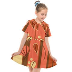 Amber Yellow Stripes Leaves Floral Kids  Short Sleeve Shirt Dress by Mariart