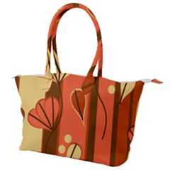Amber Yellow Stripes Leaves Floral Canvas Shoulder Bag