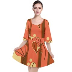 Amber Yellow Stripes Leaves Floral Velour Kimono Dress by Mariart