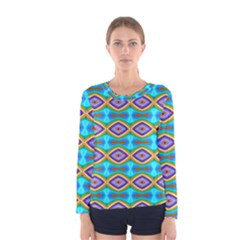 Abstract Colorful Unique Women s Long Sleeve Tee