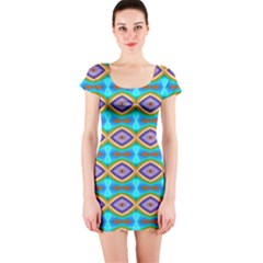 Abstract Colorful Unique Short Sleeve Bodycon Dress