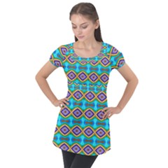 Abstract Colorful Unique Puff Sleeve Tunic Top by Alisyart