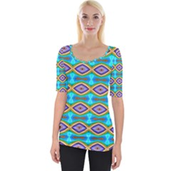 Abstract Colorful Unique Wide Neckline Tee