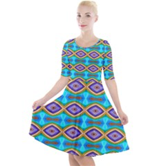 Abstract Colorful Unique Quarter Sleeve A Line Dress