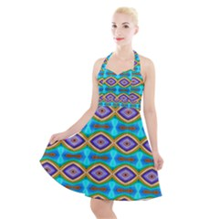 Abstract Colorful Unique Halter Party Swing Dress