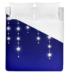 Star Background Blue Duvet Cover (queen Size) by AnjaniArt
