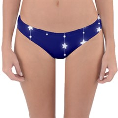 Star Background Blue Reversible Hipster Bikini Bottoms by AnjaniArt