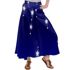 Star Background Blue Satin Palazzo Pants by AnjaniArt