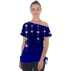 Star Background Blue Tie Up Tee by AnjaniArt