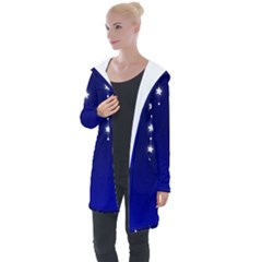 Star Background Blue Longline Hooded Cardigan by AnjaniArt