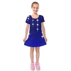 Star Background Blue Kids  Short Sleeve Velvet Dress