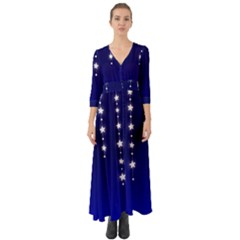 Star Background Blue Button Up Boho Maxi Dress by AnjaniArt