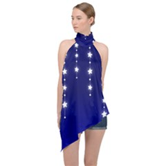 Star Background Blue Halter Asymmetric Satin Top by AnjaniArt