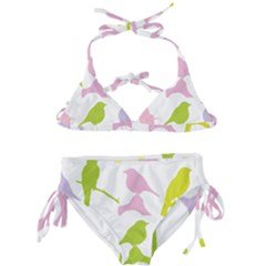 Birds Colourful Background Kids  Classic Bikini Set