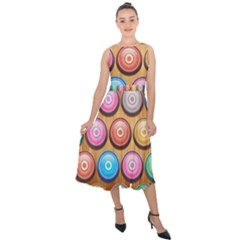 Background Colorful Abstract Brown Midi Tie Back Chiffon Dress by Desi8477