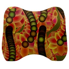 Abstract Background Digital Green Velour Head Support Cushion