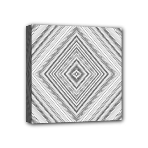 Black White Grey Pinstripes Angles Mini Canvas 4  X 4  (stretched)