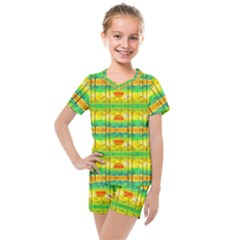 Birds Beach Sun Abstract Pattern Kids  Mesh Tee And Shorts Set by Desi8477