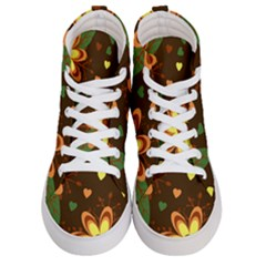 Floral Hearts Brown Green Retro Men s Hi Top Skate Sneakers