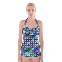 Geometric Background Colorful Boyleg Halter Swimsuit  by Desi8477