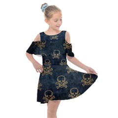 Golden Glitter Skeleton Gothic Kids  Shoulder Cutout Chiffon Dress