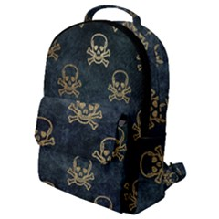 Golden Glitter Skeleton Gothic Flap Pocket Backpack (small)