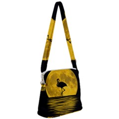 Moon Reflection Flamenco Animal Zipper Messenger Bag