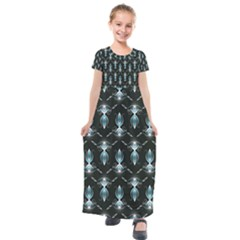 Seamless Pattern Background Black Kids  Short Sleeve Maxi Dress by Desi8477