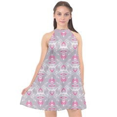 Seamless Pattern Background Halter Neckline Chiffon Dress