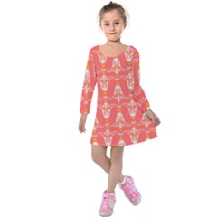 Seamless Pattern Background Red Kids  Long Sleeve Velvet Dress