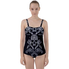 Skull Pirate Gun Roses Twist Front Tankini Set