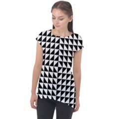 Optical Illusion Illusion Black Cap Sleeve High Low Top