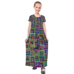 Wallpaper Background Colorful Kids  Short Sleeve Maxi Dress by Pakrebo