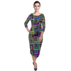 Wallpaper Background Colorful Quarter Sleeve Midi Velour Bodycon Dress by Pakrebo