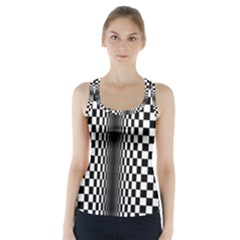 Art Optical Black White Contrast Racer Back Sports Top