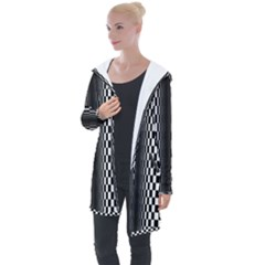 Art Optical Black White Contrast Longline Hooded Cardigan