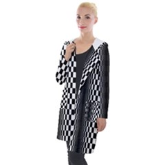 Art Optical Black White Contrast Hooded Pocket Cardigan